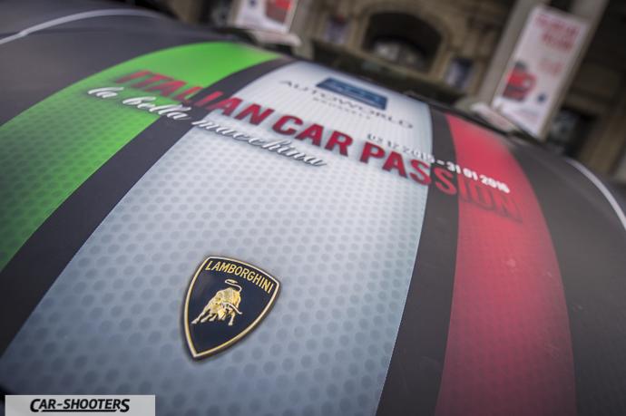 Dettaglio logo Lamborghini e autoworld