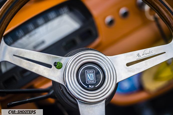 Fiat Nuova 500 Convertible dettaglio volante tardi